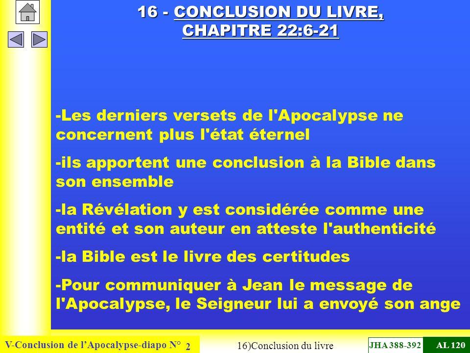 16 - CONCLUSION DU LIVRE, CHAPITRE 22:6-21