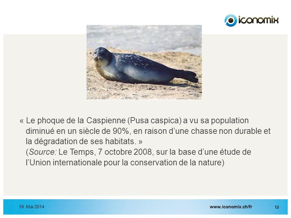 « Le phoque de la Caspienne (Pusa caspica) a vu sa population diminué en un siècle de 90%, en raison d'une chasse non durable et la dégradation de ses habitats. » (Source: Le Temps, 7 octobre 2008, sur la base d'une étude de l'Union internationale pour la conservation de la nature)