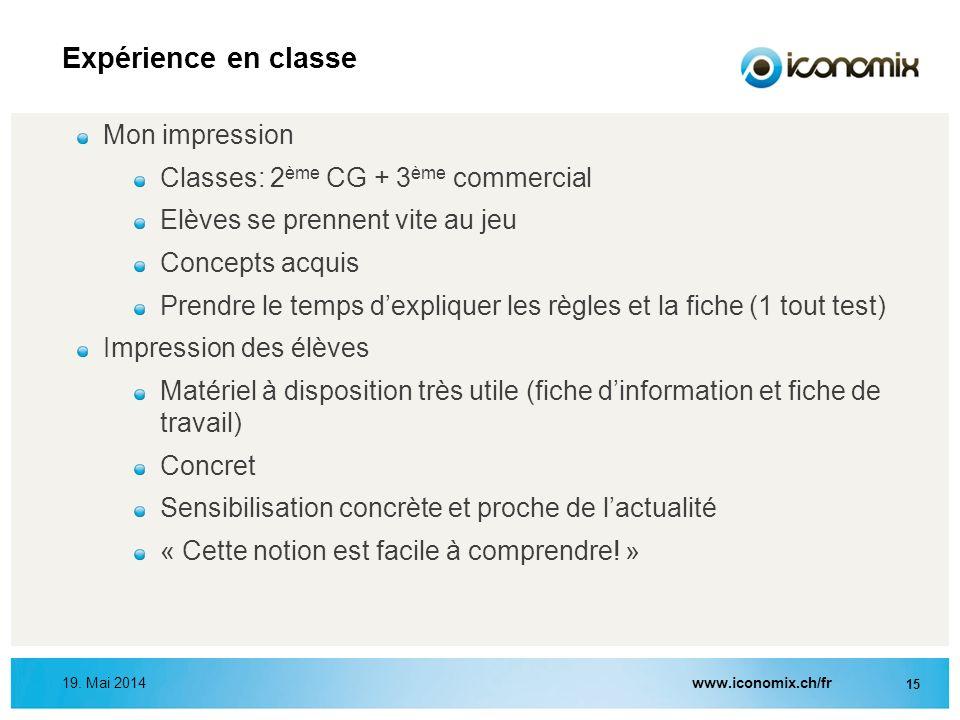Expérience en classe Mon impression Classes: 2ème CG + 3ème commercial