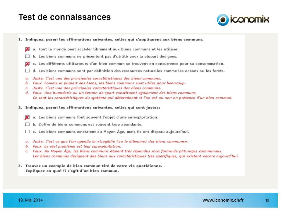Test de connaissances 31. März 2017 www.iconomix.ch/fr