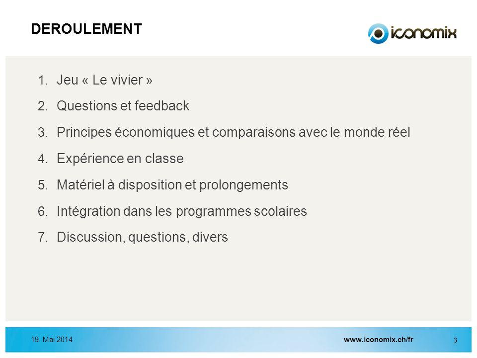 DEROULEMENT Jeu « Le vivier » Questions et feedback