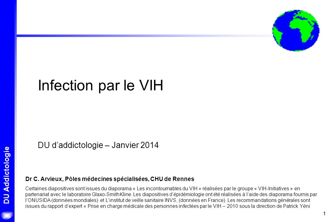Infection par le VIH DU d'addictologie – Janvier 2014