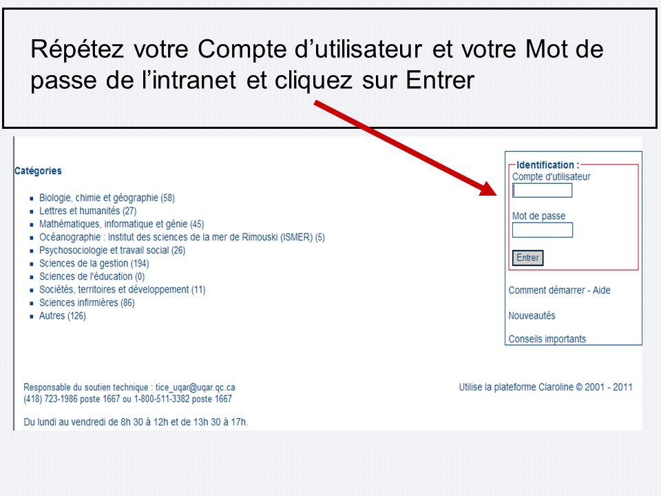 Répétez votre Compte d'utilisateur et votre Mot de passe de l'intranet et cliquez sur Entrer