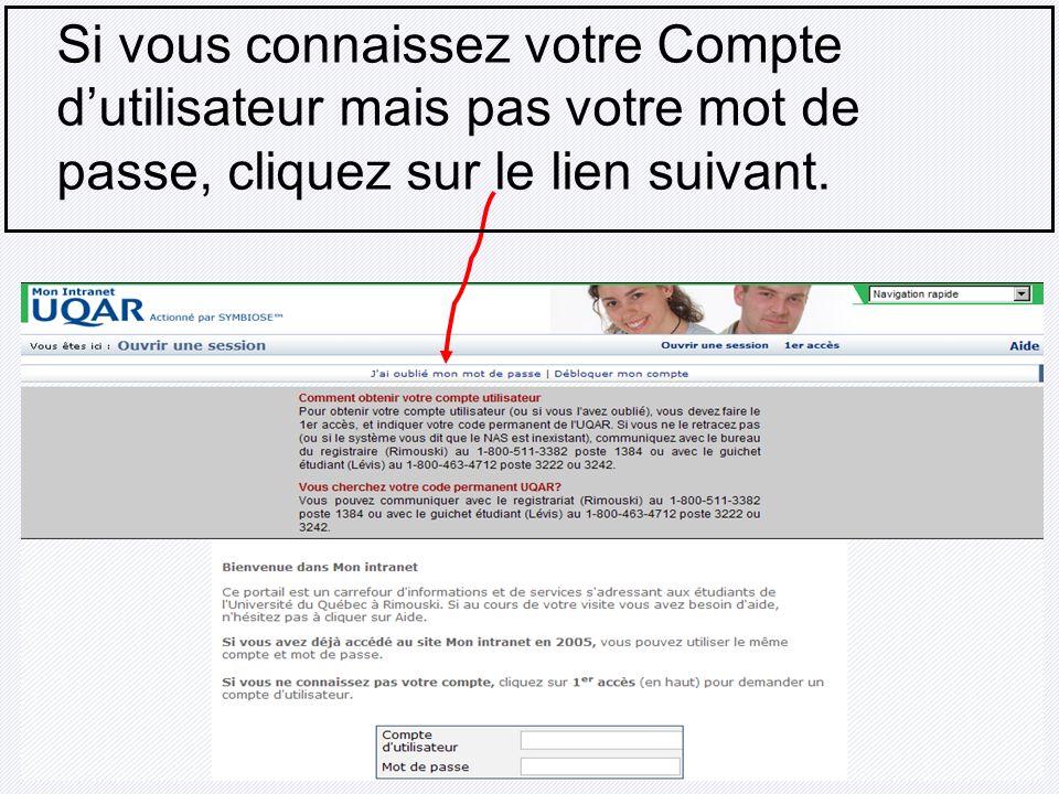 Si vous connaissez votre Compte d'utilisateur mais pas votre mot de passe, cliquez sur le lien suivant.