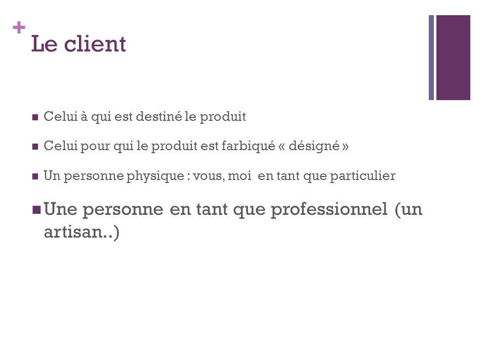 Le client Une personne en tant que professionnel (un artisan..)