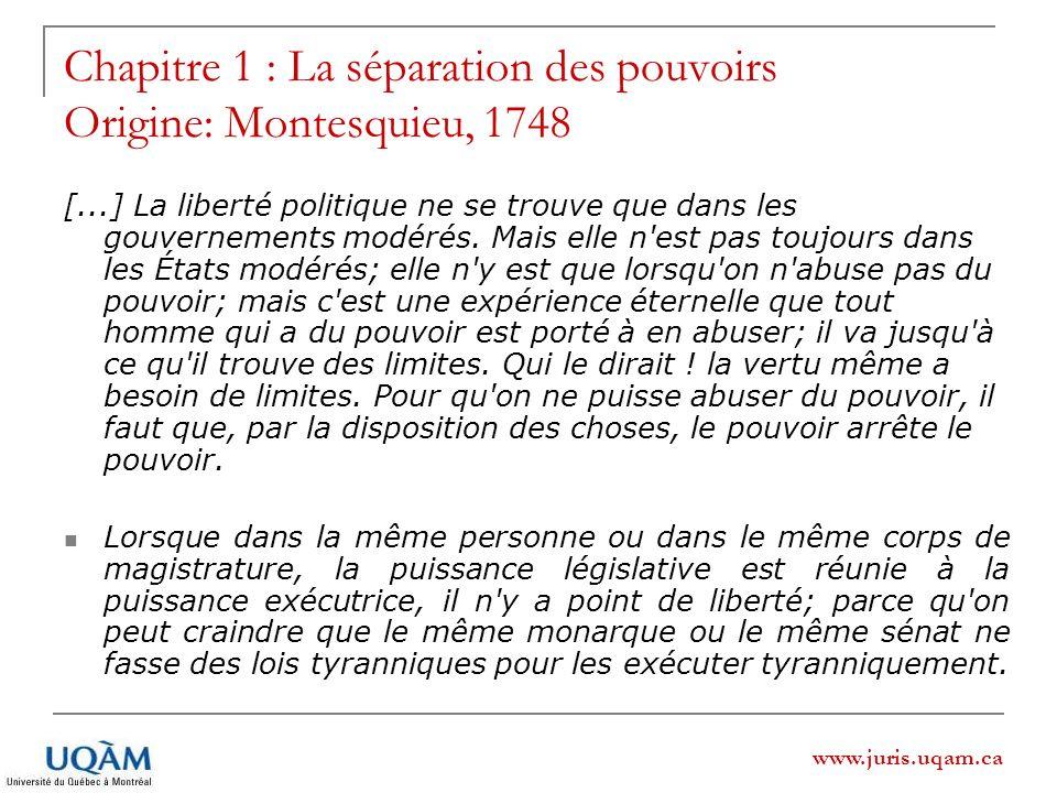 Chapitre 1 : La séparation des pouvoirs Origine: Montesquieu, 1748