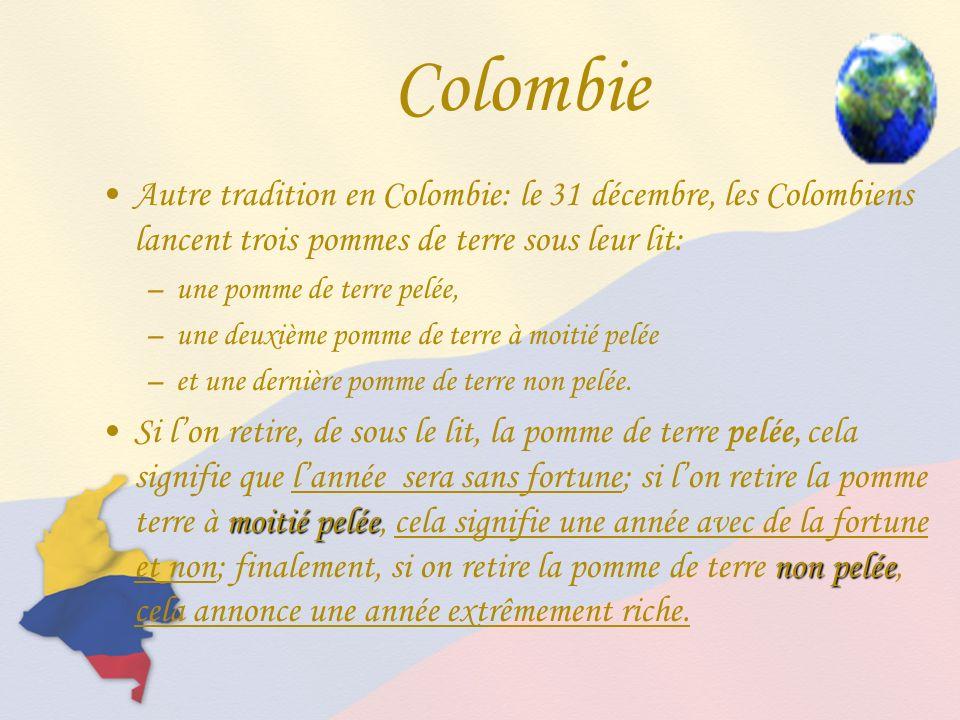 Colombie Autre tradition en Colombie: le 31 décembre, les Colombiens lancent trois pommes de terre sous leur lit: