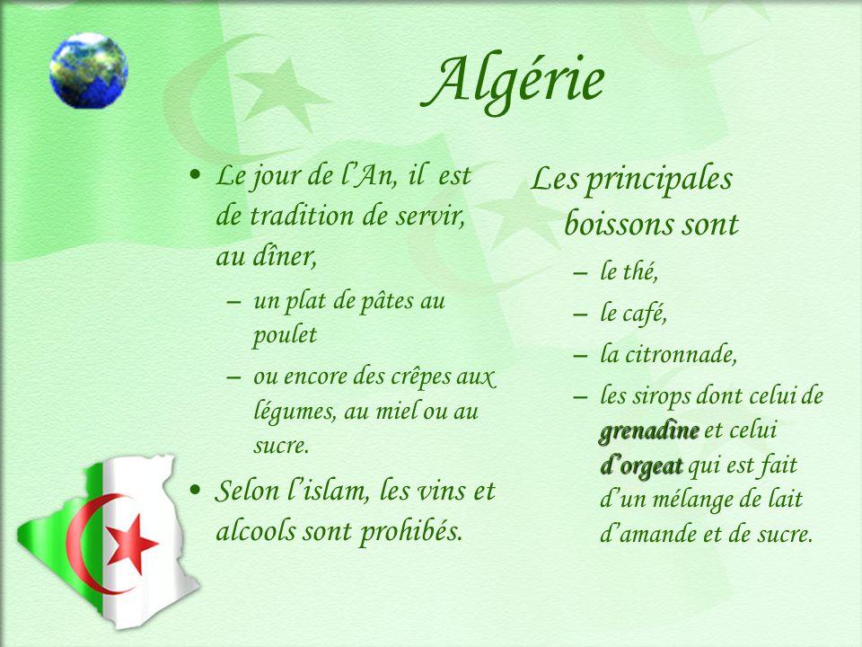 Algérie Les principales boissons sont