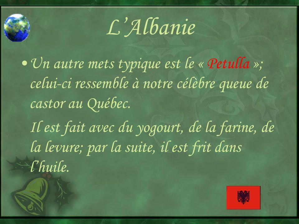 L'Albanie Un autre mets typique est le « Petulla »; celui-ci ressemble à notre célèbre queue de castor au Québec.