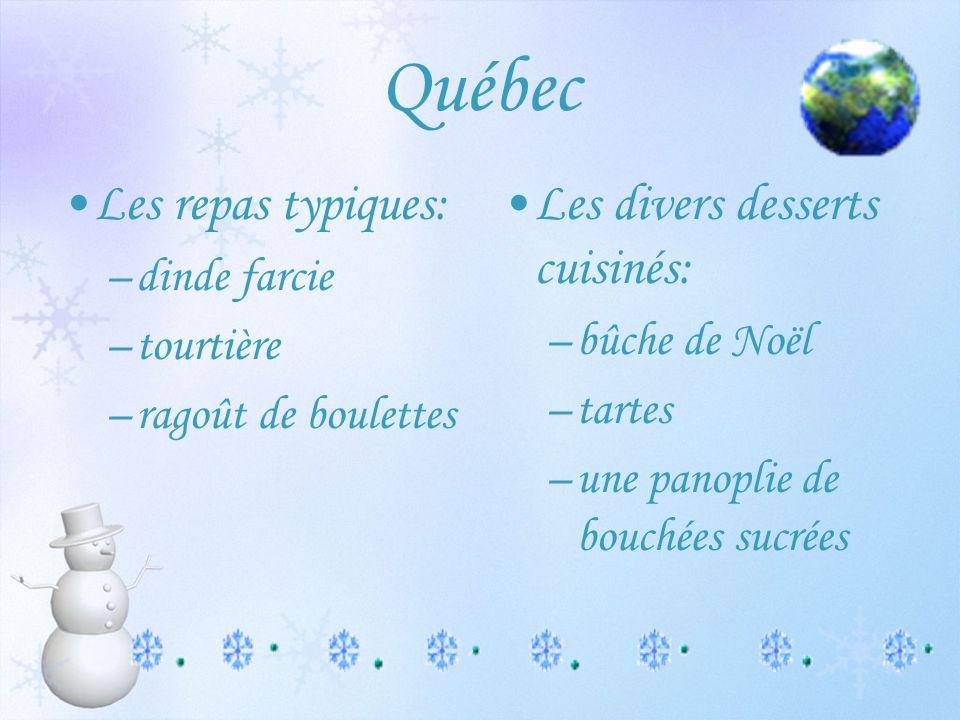 Québec Les repas typiques: Les divers desserts cuisinés: dinde farcie