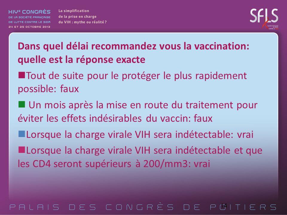 Dans quel délai recommandez vous la vaccination: quelle est la réponse exacte