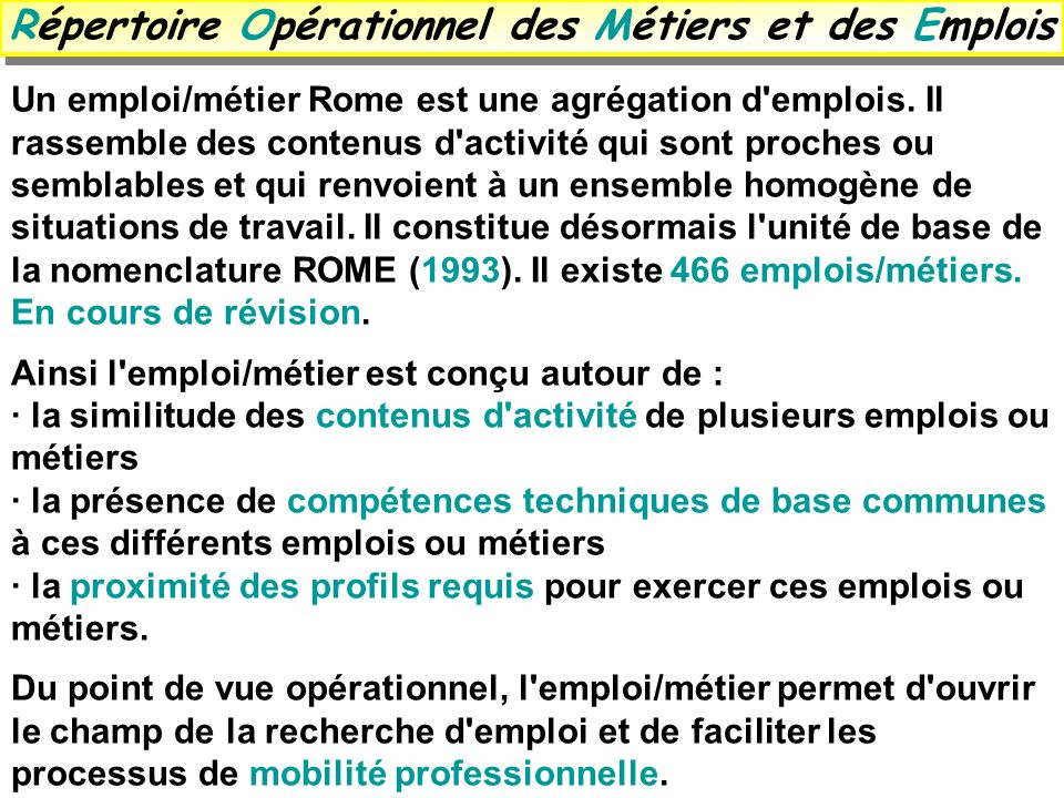 Répertoire Opérationnel des Métiers et des Emplois