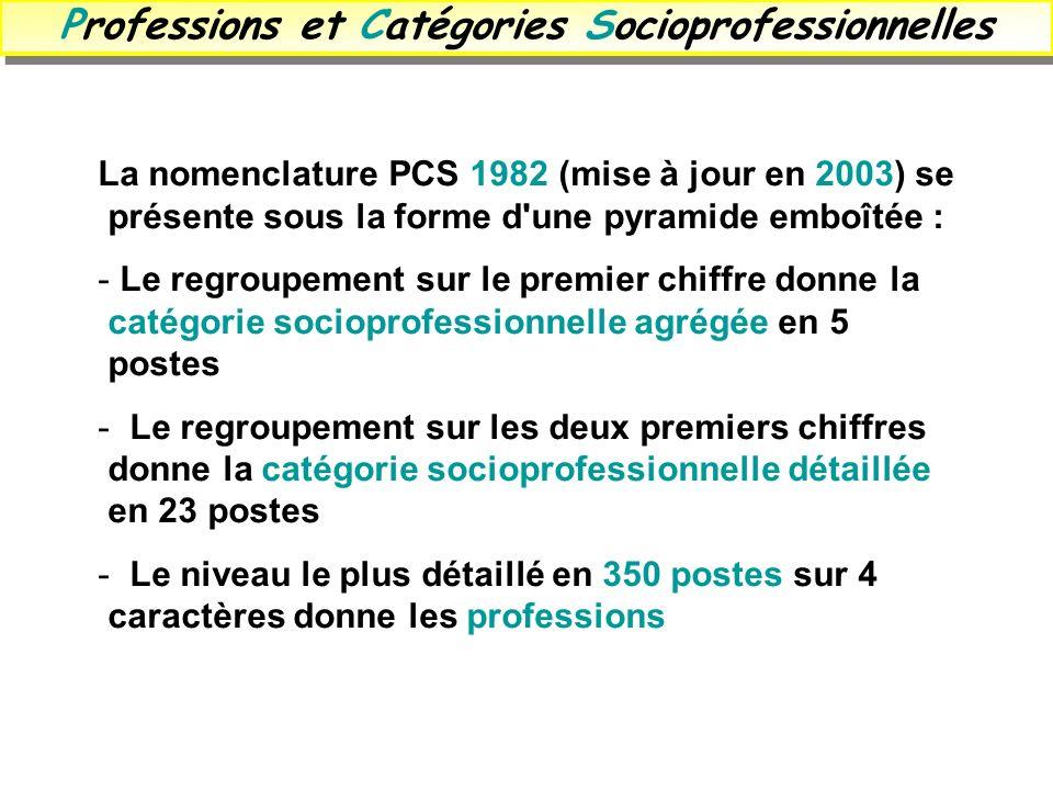 Professions et Catégories Socioprofessionnelles