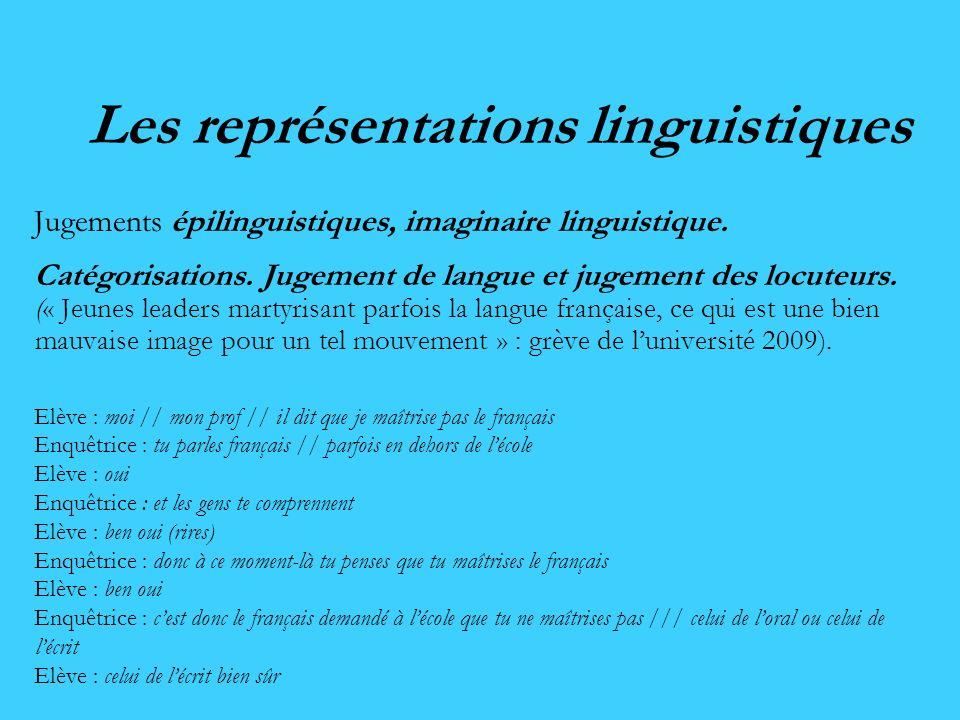 Les représentations linguistiques