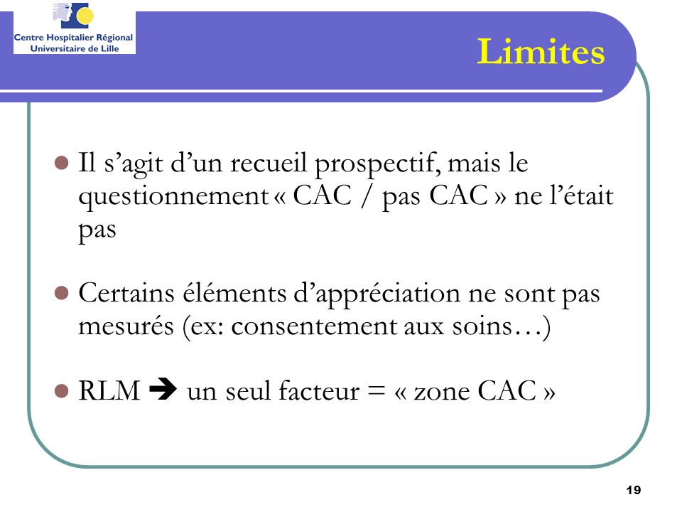 Limites Il s'agit d'un recueil prospectif, mais le questionnement « CAC / pas CAC » ne l'était pas.