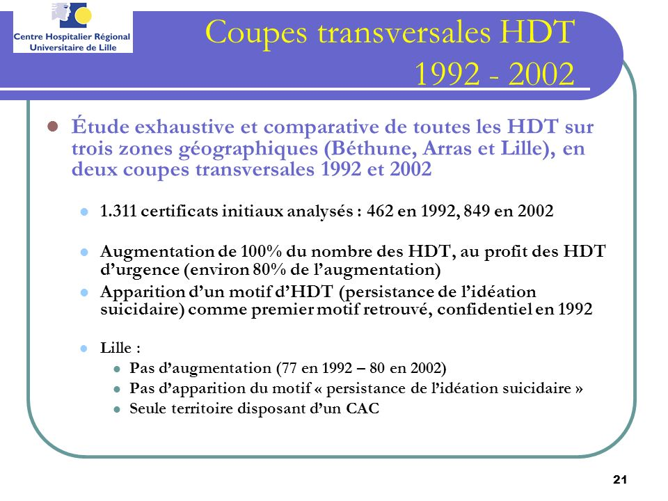 Coupes transversales HDT 1992 - 2002