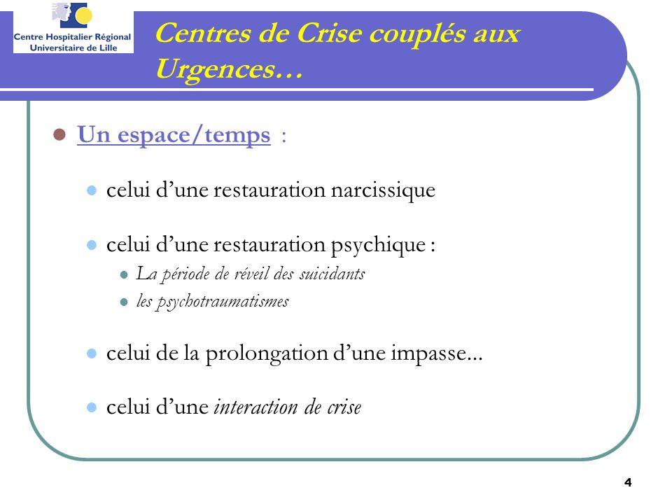 Centres de Crise couplés aux Urgences…