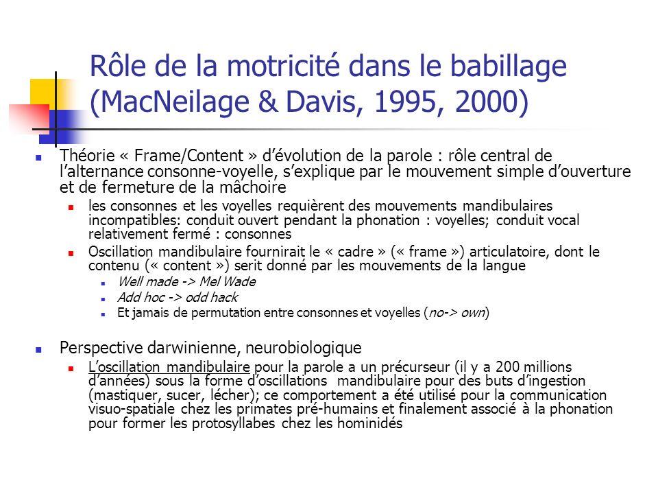Rôle de la motricité dans le babillage (MacNeilage & Davis, 1995, 2000)