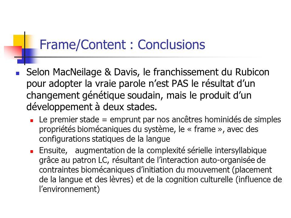 Frame/Content : Conclusions