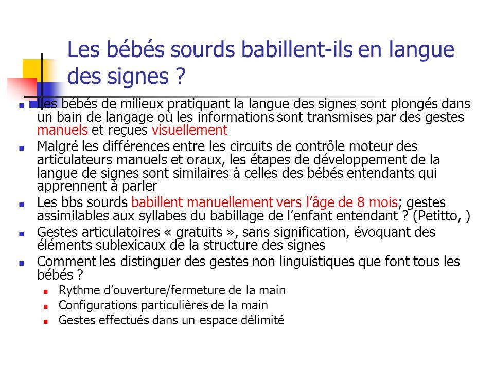 Les bébés sourds babillent-ils en langue des signes