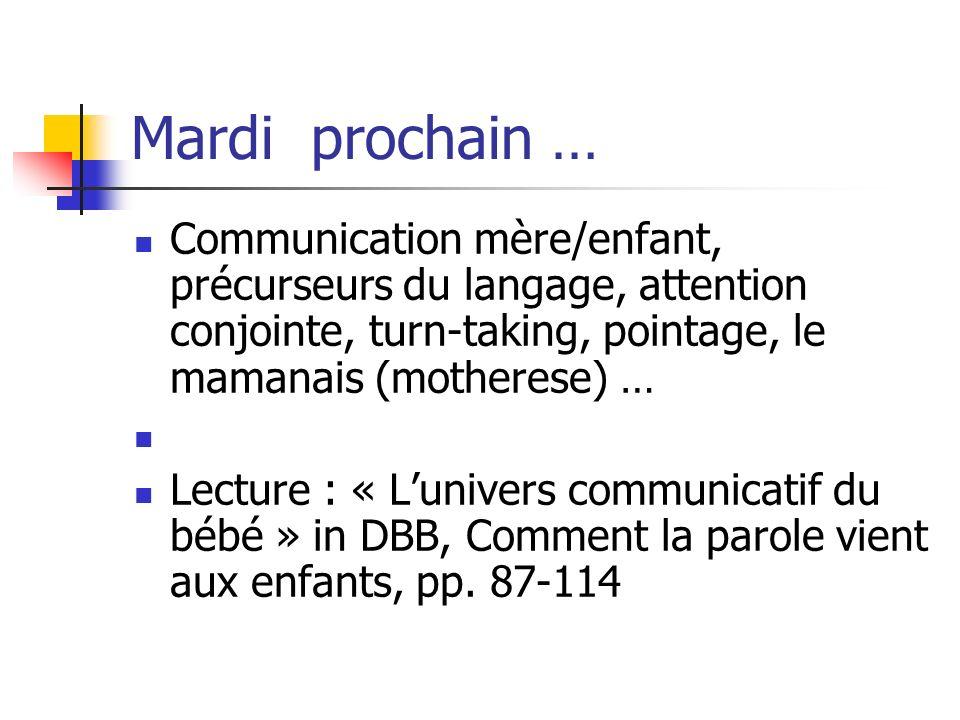 Mardi prochain … Communication mère/enfant, précurseurs du langage, attention conjointe, turn-taking, pointage, le mamanais (motherese) …
