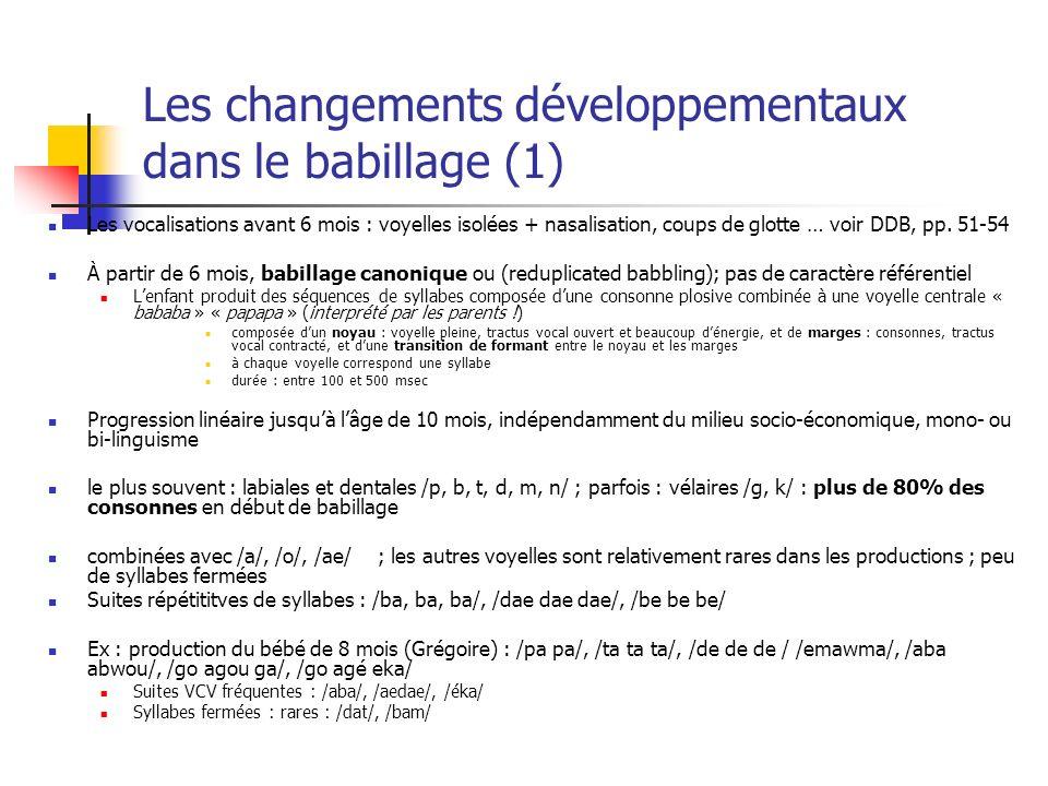 Les changements développementaux dans le babillage (1)