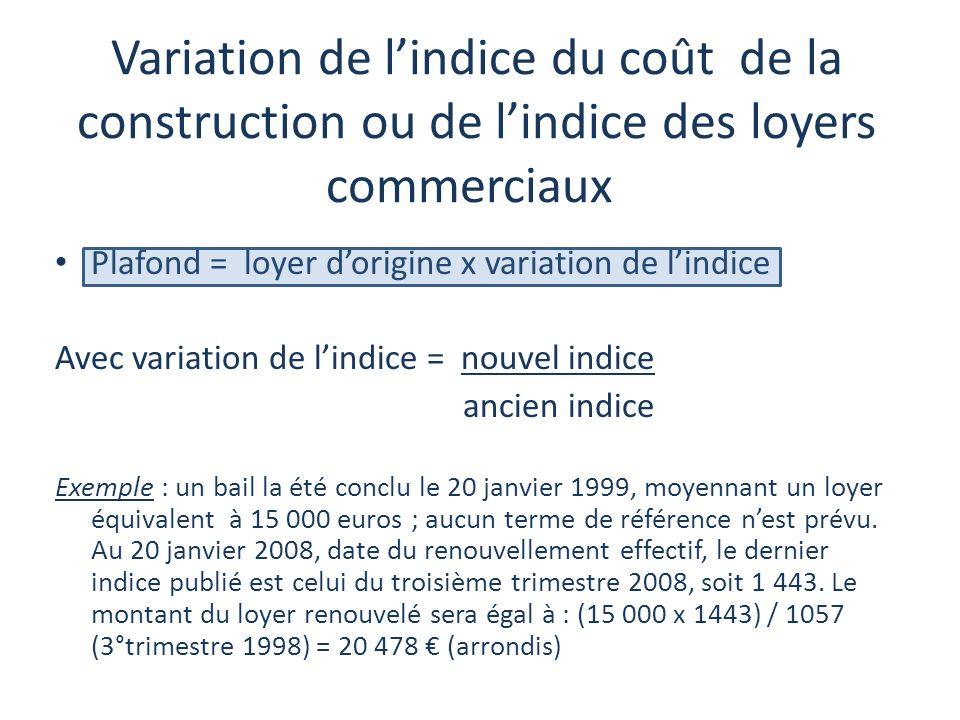 Variation de l'indice du coût de la construction ou de l'indice des loyers commerciaux