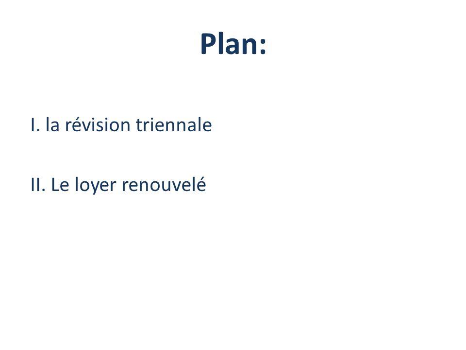 Plan: I. la révision triennale II. Le loyer renouvelé