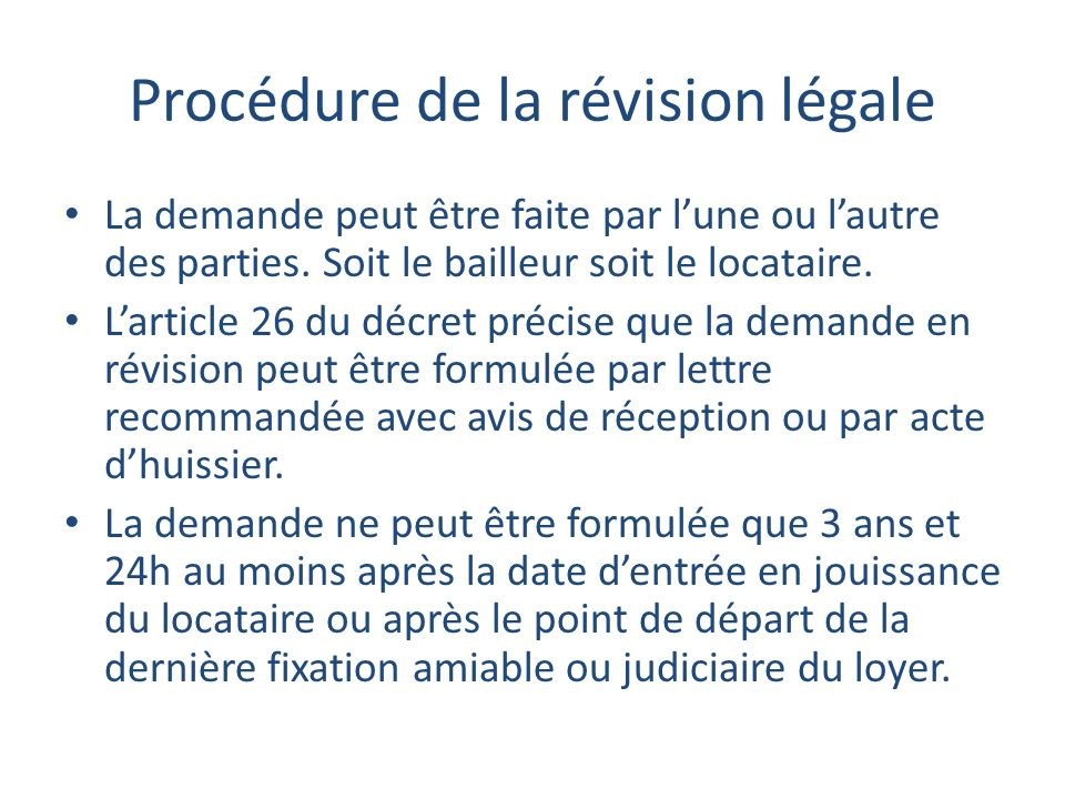 Procédure de la révision légale