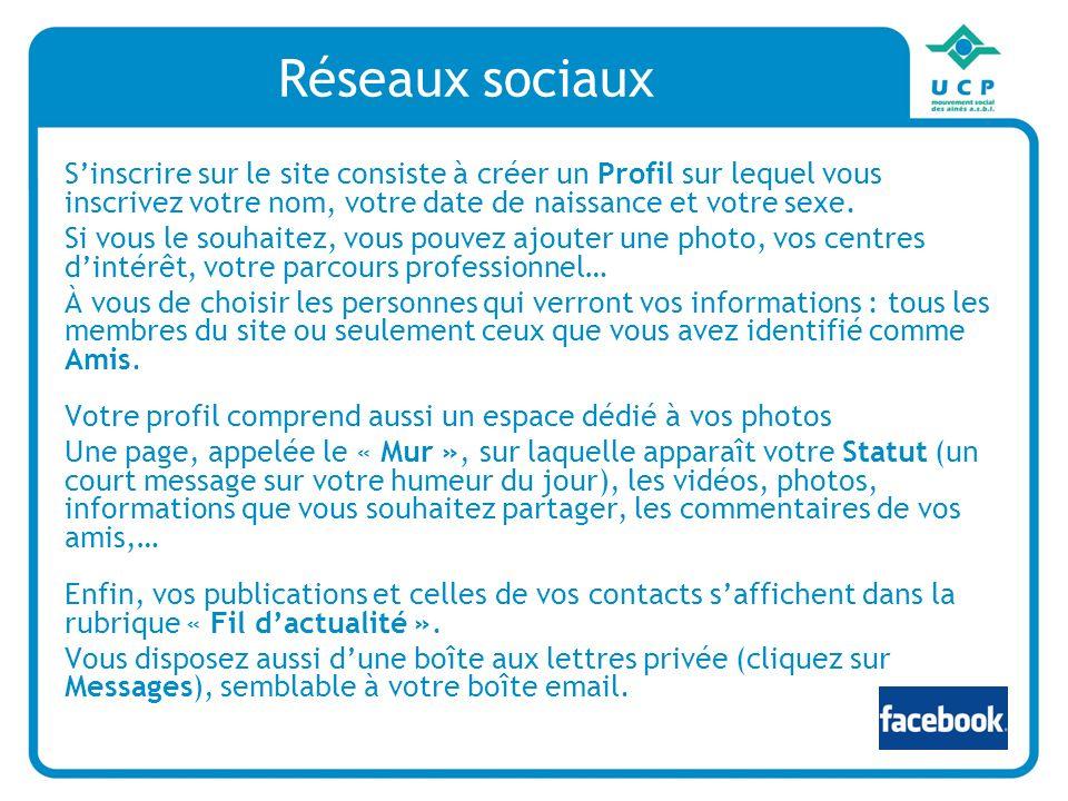 Réseaux sociaux S'inscrire sur le site consiste à créer un Profil sur lequel vous inscrivez votre nom, votre date de naissance et votre sexe.