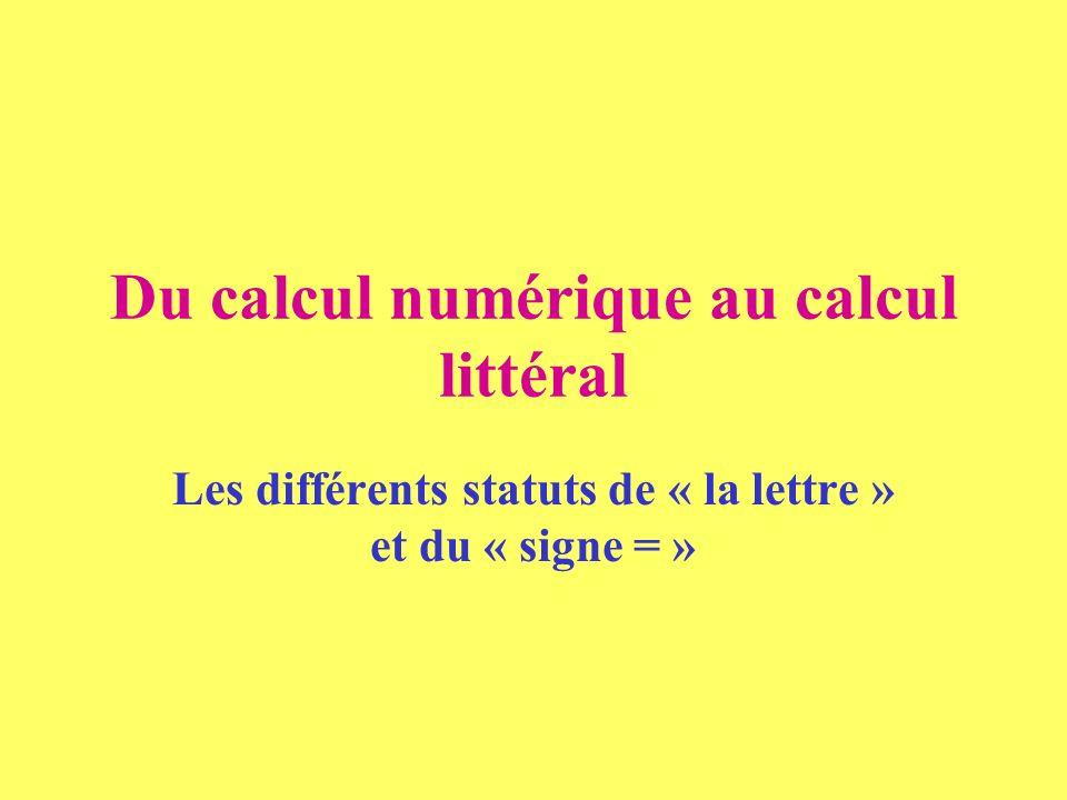 Du calcul numérique au calcul littéral