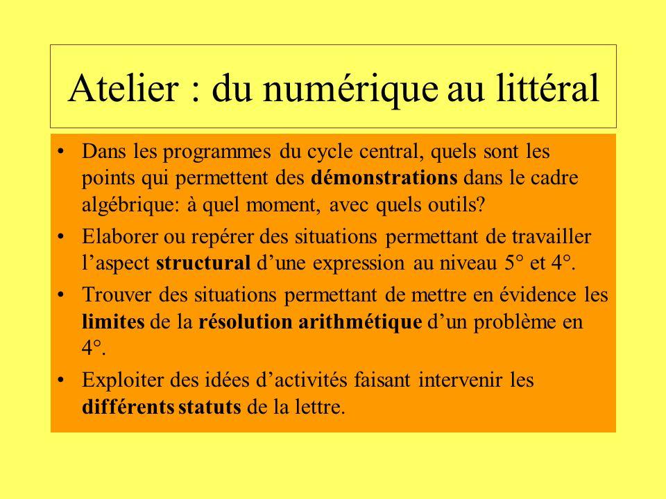 Atelier : du numérique au littéral