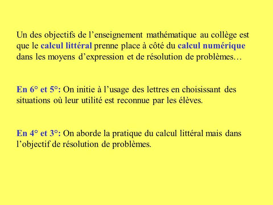 Un des objectifs de l'enseignement mathématique au collège est que le calcul littéral prenne place à côté du calcul numérique dans les moyens d'expression et de résolution de problèmes…