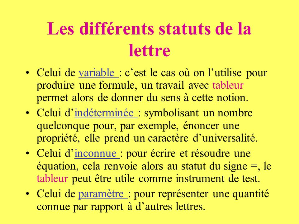Les différents statuts de la lettre