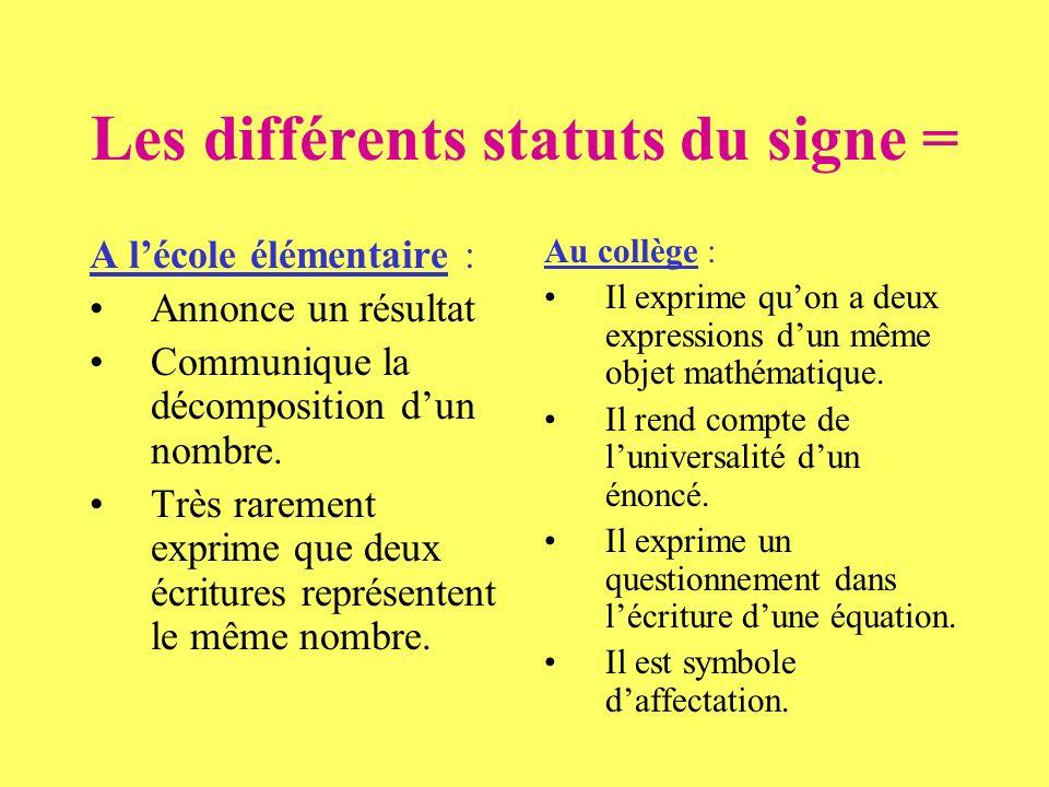 Les différents statuts du signe =
