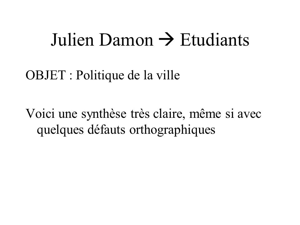 Julien Damon  Etudiants
