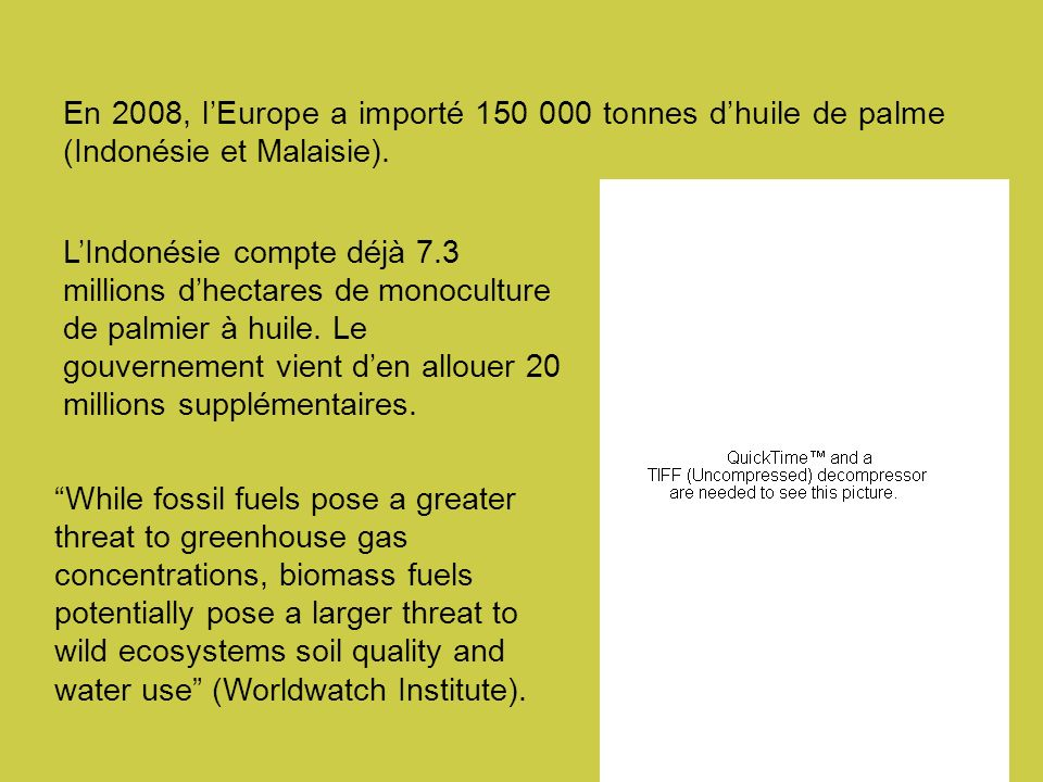En 2008, l'Europe a importé 150 000 tonnes d'huile de palme (Indonésie et Malaisie).