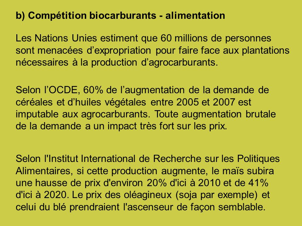 b) Compétition biocarburants - alimentation