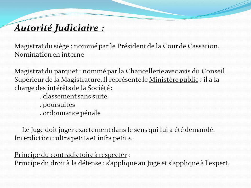 Autorité Judiciaire : Magistrat du siège : nommé par le Président de la Cour de Cassation. Nomination en interne.