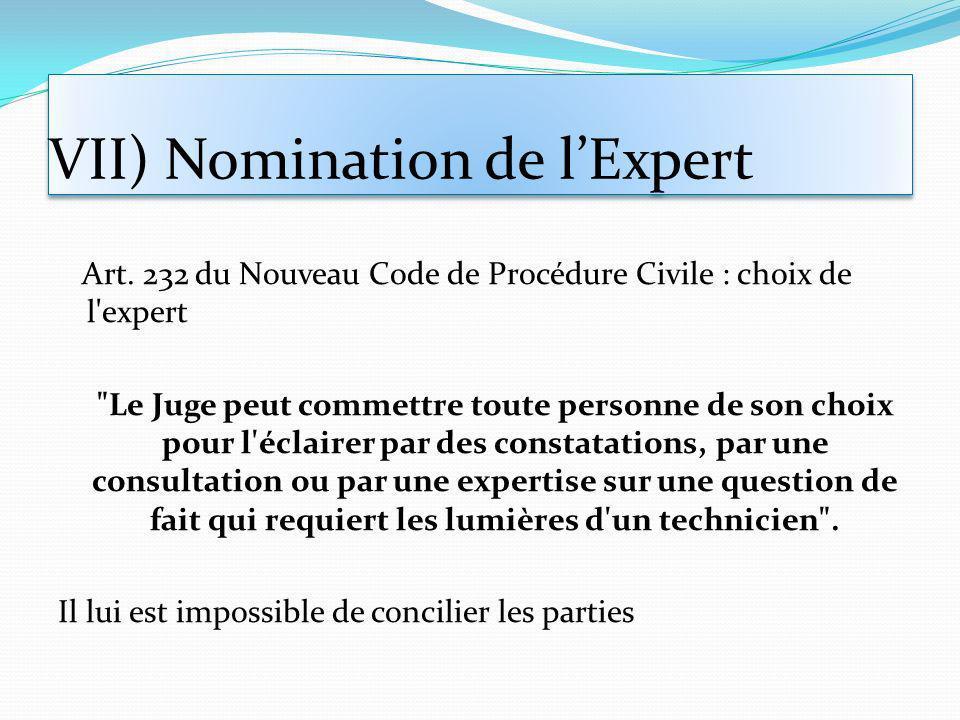 VII) Nomination de l'Expert