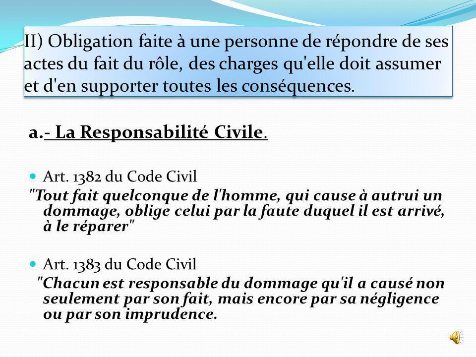a.- La Responsabilité Civile.