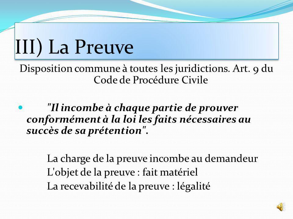 III) La Preuve Disposition commune à toutes les juridictions. Art. 9 du Code de Procédure Civile.