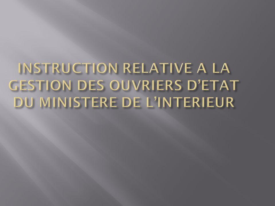 INSTRUCTION RELATIVE A LA GESTION DES OUVRIERS D'ETAT DU MINISTERE DE L'INTERIEUR