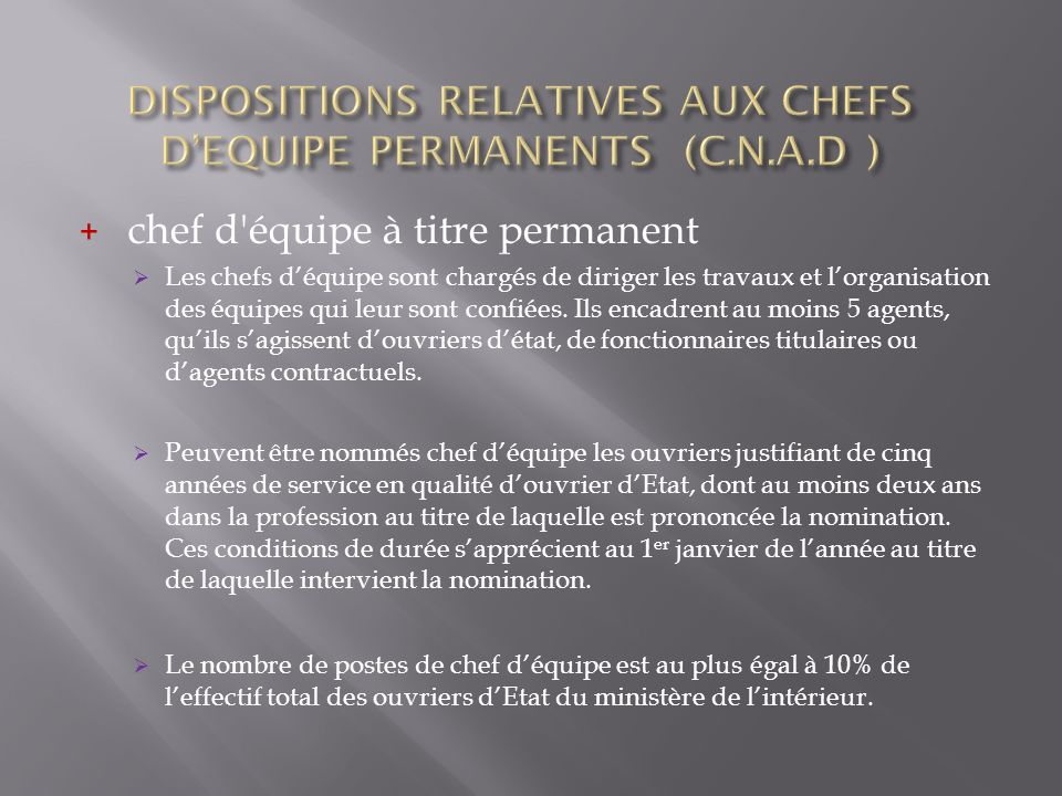 DISPOSITIONS RELATIVES AUX CHEFS D'EQUIPE PERMANENTS (C.N.A.D )