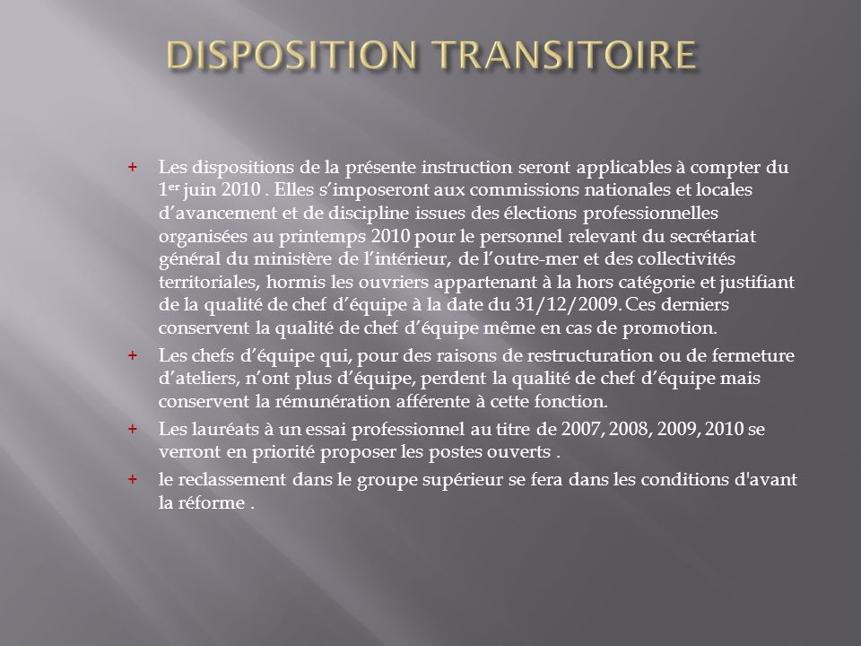 DISPOSITION TRANSITOIRE