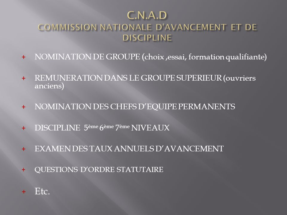 C.N.A.D COMMISSION NATIONALE D'AVANCEMENT ET DE DISCIPLINE