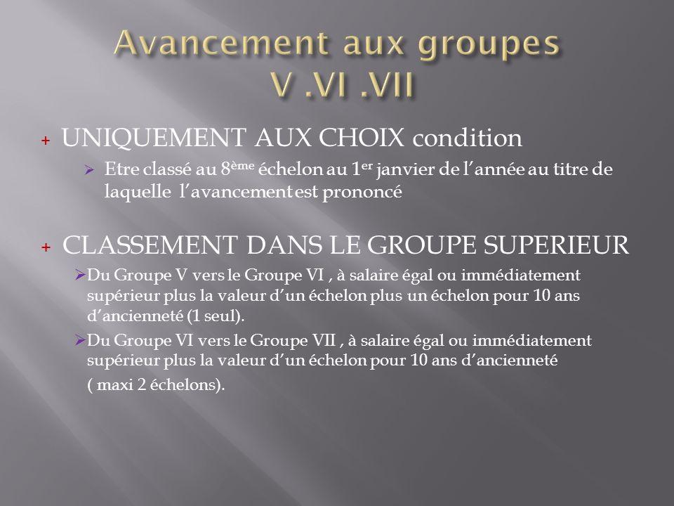 Avancement aux groupes V .VI .VII