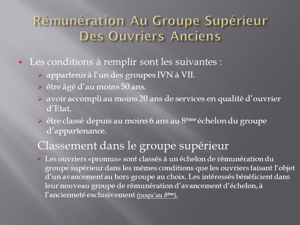 Rémunération Au Groupe Supérieur Des Ouvriers Anciens