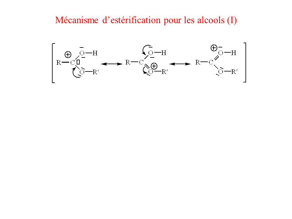 Mécanisme d'estérification pour les alcools (I)