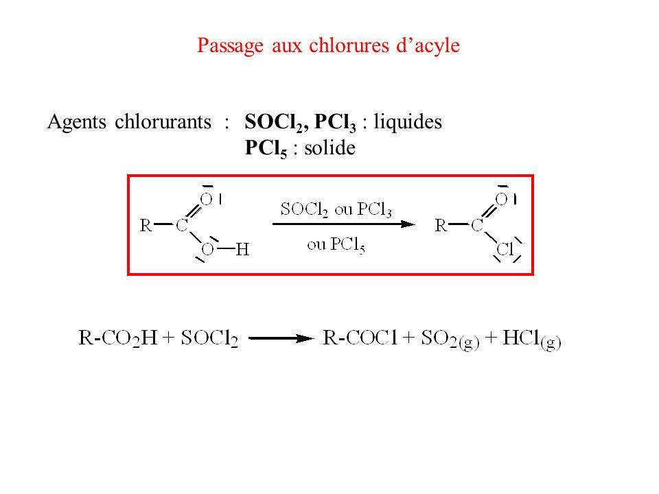 Passage aux chlorures d'acyle
